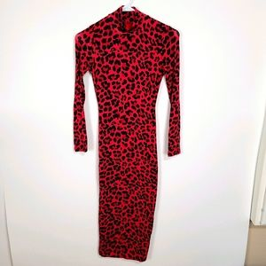 JLUXLABEL   NWT Leopard Bodycon Midi Dress Red S